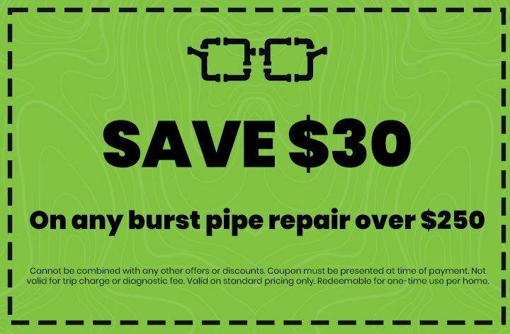 Discounts on On any burst pipe repair over $250
