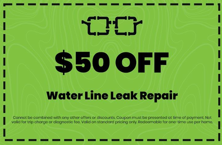 Discounts on Water Line Leak Repair